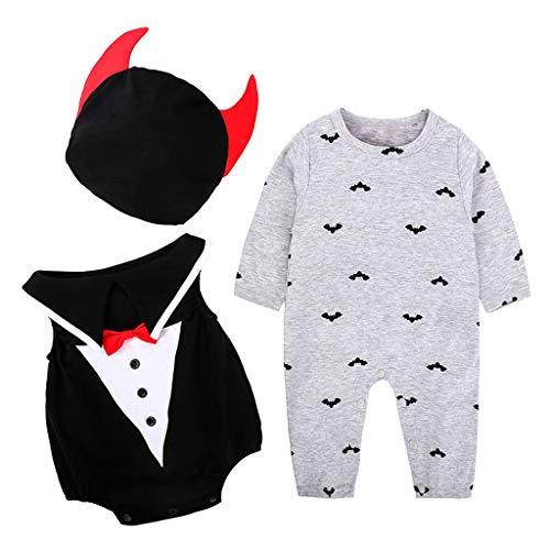 ZODOF Ropa de Halloween Recién Nacido Bebé Niño Niña Gentilhombre Dibujos Animados Mameluco Chaleco Jumpsuit Peleles Tops(12-18 Meses,Gris)