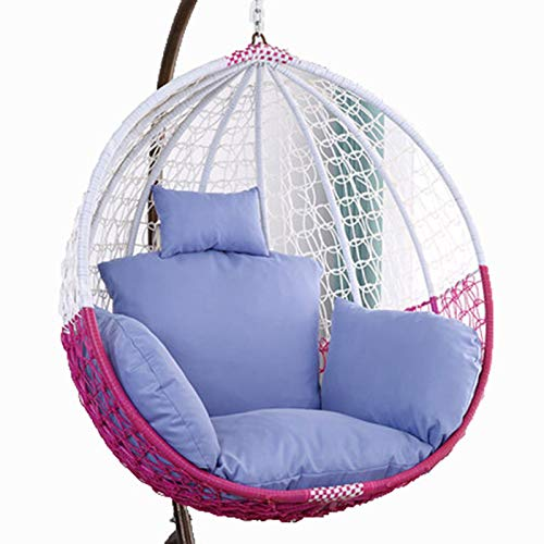 Egg Chair Cushion Only, Hanging Swing Chair Seat Cushion Replacement, Thicken Hanging Hammock Chair Cushion with Headrest and Armrests, Outdoor Garden Chair Pads Haze Blue