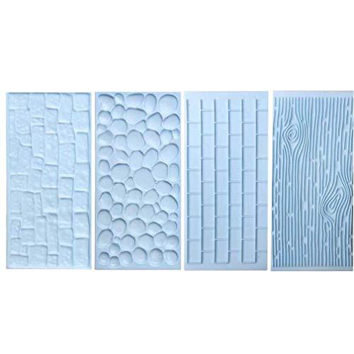 Gamloious 2Pcs / Set Écorce Mur de Briques Outils Bakeware Silicone Alimentaire Catégorie Texture Accessoires de Cuisine décoration de gâteau Fondant Moule