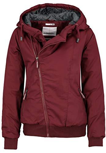 Sublevel Damen Winter-Jacke mit Kapuze warm gefüttert Dark-red XL