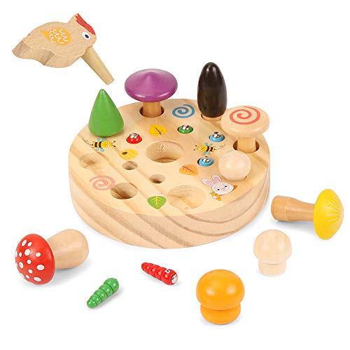 Specht Raupen Fangen Spiel, Holzspielzeug Montessori, Sortierspiel Lernspielzeug, Specht Pilzernte Spiel, Montessori Holz-Herausforderung, Pädagogisches Spielzeug für Baby und Kleinkind