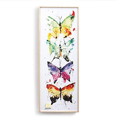 DEMDACO Four Butterflies Watercolor Multicolored 16 x 6 Wood Decorative Wall Art Sign