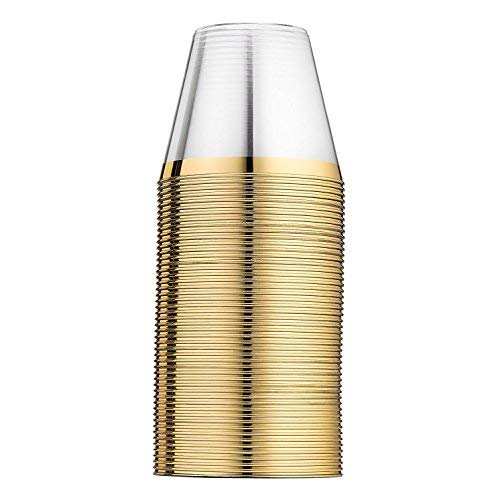 100 Gold Rimmed Hard & Clear Plastic Party Cups