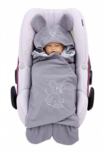 ByBoom - Baby Einschlagdecke Sommer; außen Fleece, innen 100% Baumwolle; Für Babyschale,...