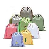 8 PCS ragazze scarpe bagagli coulisse Borse per Travel, fumetto di viaggio Essential Borse-a-Bag Deposito imballaggio Organizzatori Bag Cosmetici Valigia lavanderia toilette Pouch (Stile: Draw String)