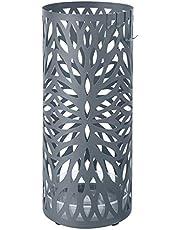 SONGMICS paraplubak van metaal, moderne paraplubak, rond, 19,5 x 49 cm (Ø x H), 4 haken en een afneembare wateropvangbak, voor de hal, antraciet LUC020G01