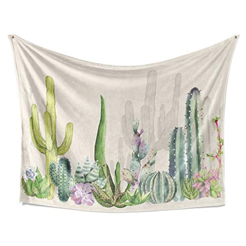 LIVETTY Tapestry Watercolor Floral and Botanical Wall Hanging Green Desert Plants Tropical Cactus Tree Tapestries Fade Resistant Microfiber Graduation Wall Decor for Living Room 84x59 Inch Yellow