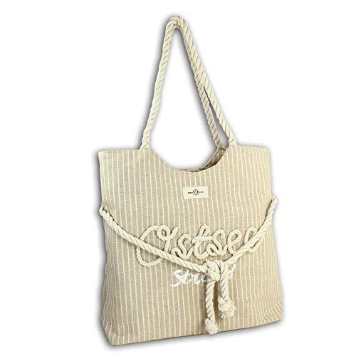 Robin Ruth Strandtasche Canvas beige gestreift Ostsee Shopper Seiloptik OTG2101C Baumwolle Schultertasche