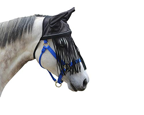 Derby Originals Soft Nylon Mesh Fly Bonnet Veil for Horses with Ears, Fringes, and Reflective Trim