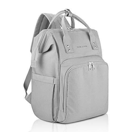 AMILLIARDI Diaper Bag Backpack - 6 INSULATED Bottle Holders - Detachable Stroller Straps (Grey)