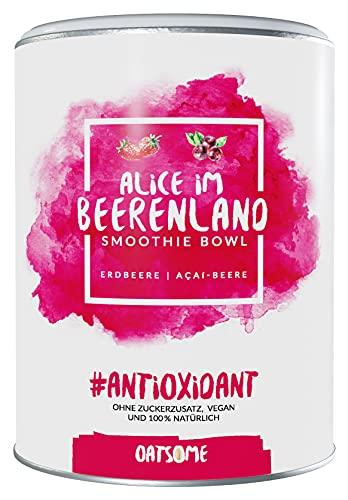 Oatsome Smoothie Bowl Acai & Erdbeere - Frühstück Pulver für vegane Ernährung - 1min Zubereitung - 100% natürlich, ohne Zusatzstoffe und raffinierten Zucker (Alice im Beerenland, 400g)