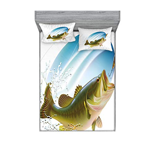 Ambesonne Fishing Fitted Sheet & Pillow Sham Set, Largemouth Sea Bass Catching a Bite in Water Spray Motion Splashing Wild Image, Decorative Printed 3 Piece Bedding Decor Set, King, Green Blue