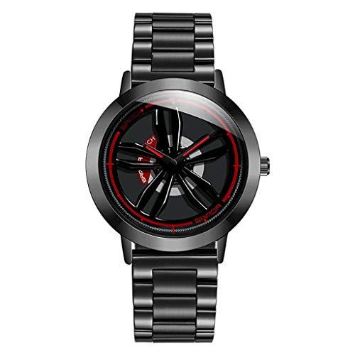 GLEMFOX Heren kwartshorloge 360 ° draaibare wijzerplaat Stijlvol volledig stalen horloge gegepersonaliseerd casual zakelijk horloge armband Small zwart