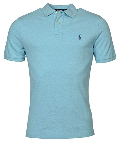 Polo Ralph Lauren Herren-Poloshirt, klassische Passform, kurzärmelig, Netzstoff, Gr. XXL, Blau meliert