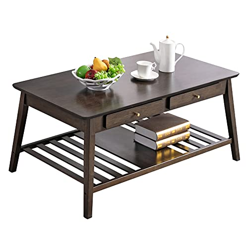 Coffee Table with Drawers Nnewvante 45-inch Bamboo Only $72.78 (Retail $189.56)