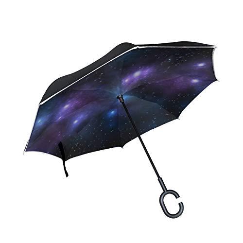 Automatic Folding Umbrella Auto Open Close Celestial Sun Moon Travel Umbrella Compact 42.5 Inch Rain Umbrella for Men Women