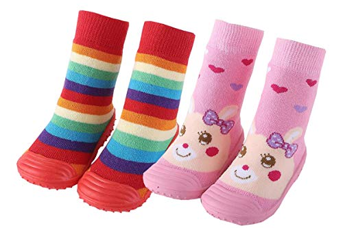 Chicone 2 Pairs Baby Socks Anti Skid Rubber Soft Sole Infant Slippers Prewalker Shoes Red Pink, M(16-24)months)