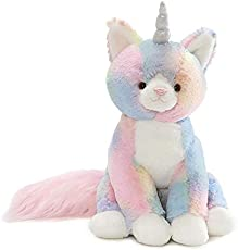 "GUND Rainbow Shimmer Caticorn Plush Stuffed Unicorn Cat, 9\"", Multicolor"