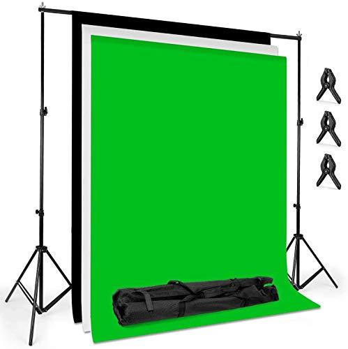 Amzdeal 2m*3m Hintergrund Ständer-Support-System 2m*1.6m Greenscreen mit Ständer StHintergründe (weiß/schwarz/grün) für Portrait, Produkt Fotografie und Videoaufnahme