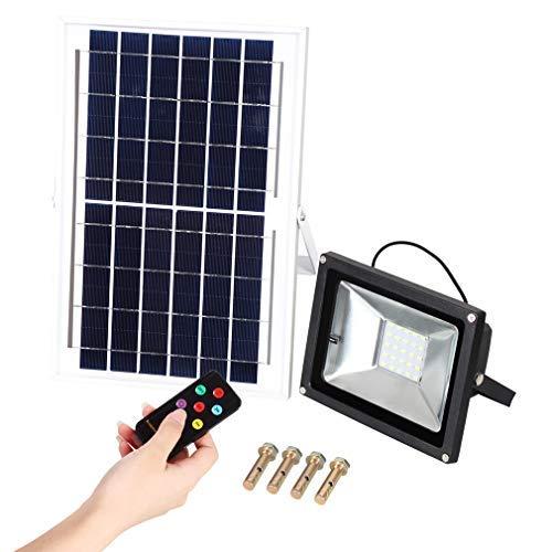 QTWW Lámpara de Pared Solar LED Ligera de 10W con Control Remoto, IP65 a Prueba de Agua, para Patio, Camino, Flores y árboles, iluminación de jardín (3500-6000K) 1200lm, Warmwei & szlig; es