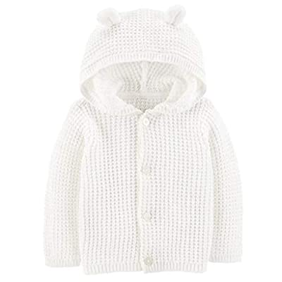 Carter's Baby Boys or Girls Hooded Cardigan Sweater, White, 6 Months