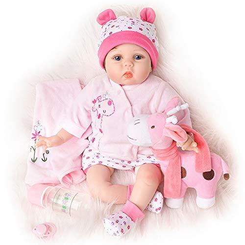 Yesteria Bébé Reborn Poupée Fille en Vinyle Tenue Rose avec Jouet Girafe Rose 55 cm