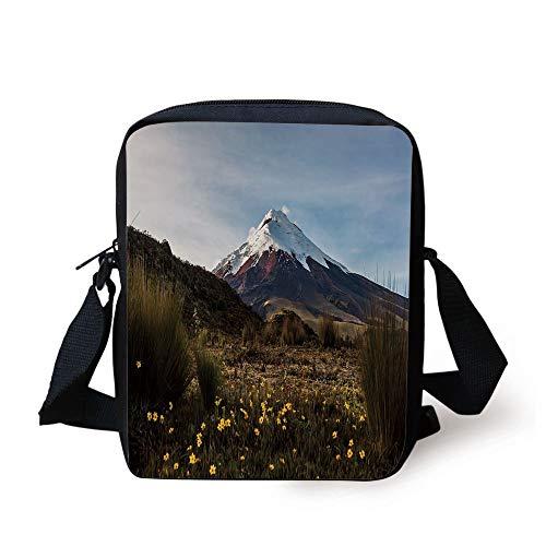 FAFANIQ Volcano,Cotopaxi Volcano at Dawn Walking Through the Wilderness Ecuador,Dark Green Yellow Light Blue Print Kids Crossbody Messenger Bag Purse