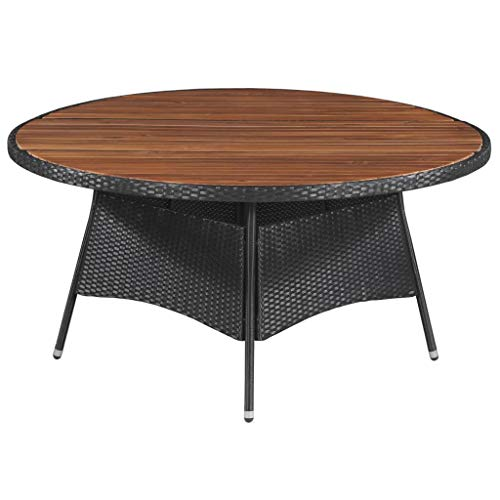 INLIFE Garden Table 59'x29.1' Poly Rattan and Solid Acacia Wood