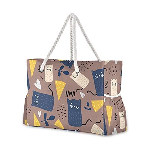 Mnsruu Bolso de mano, bolso grande de la playa del hombro de los animales de la historieta, bolso de viaje de la cuerda de algodón para las mujeres