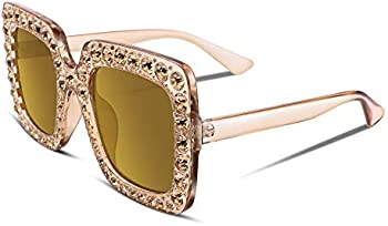 Feisedy Women Sparkling Crystal Oversized Square Thick Frame Sunglasses