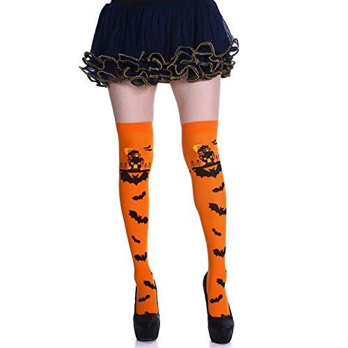 UNUStyle Neuheit Socken Halloween Kreative Scary Castle Fledermaus Drucken Orange Hohe Strümpfe Über Dem Knie Sport Compress Socken Happy Sox Novelty Tide Multipack 3 Paare Baumwolle Frauen