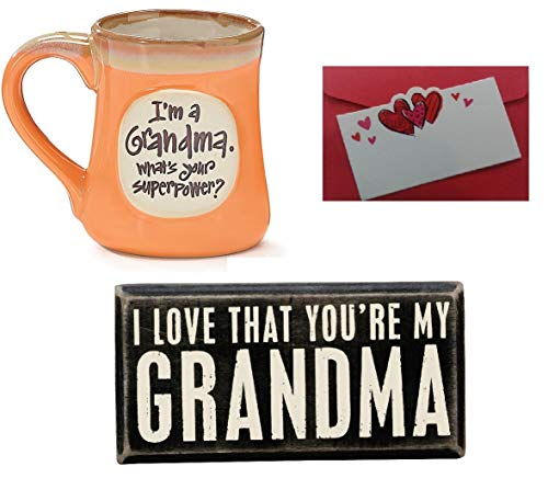 2 Grandma Gifts,I'm a Grandma What's Your Superpower Coffee Mug and Rustic Box Sign I Love That You're My Grandma 2 Piece Bundle and Gift Card