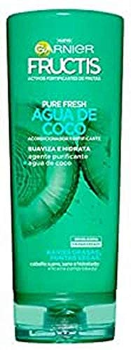 GARNIER Fructis Pure Fresh Agua de Coco Acondicionador Pelo Normal, con raíces grasas y puntas secas - 250 ml