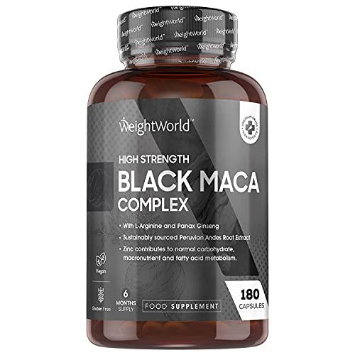 Maca Noire Ginseng Fort Dosage 5000mg - Black Maca Root + Panax Ginseng + L Arginine + Zinc – 180 Gélules Vegan (6 Mois) Haute Absorption - Maca du Pérou Issue de Ressources Durables