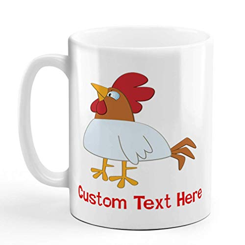 N\A Taza de café de cerámica Personalizada 11 onzas Gallo Animales Granja Taza de té Blanco Texto Personalizado aquí