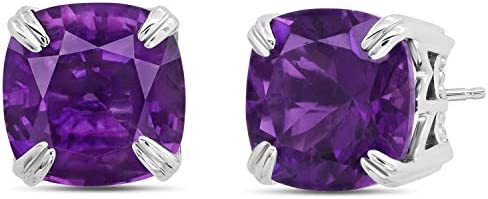 Nicole Miller Fine Jewelry Sterling Silver with 7mm Cushion Cut Amethyst Stud Earrings product image