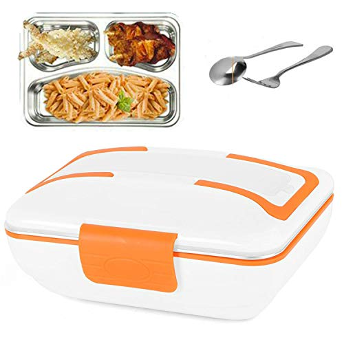 Calentador Fiambrera eléctrico de alimentos Bandeja extraíble de acero inoxidable de 3 compartimentos con sellador portátil Lonchera térmica PP Caja de plásti HB01 (Naranja)