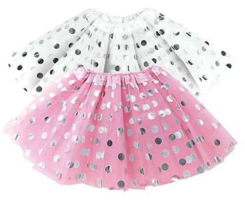 Polka Dot Pink & White Tutu Skirt Set ay Party Spring, Halloween Costume