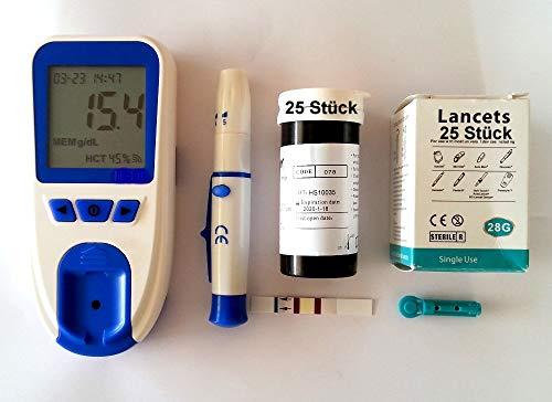 Hämoglobin Gerät Messgerät Hämatokrit - 25 Messstreifen 25 Blutlanzetten 25 Pipetten - 1.000 Memoryspeicher Datumsanzeige