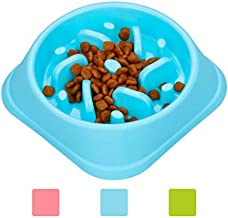 wangstar Pet Slow Feeder Bowl, Bloat Stop Dog Puzzle Bowl Maze, Interactive Fun Feeder Slow Bowl with Anti-Skid Design (S/M Dog & Large cat, Square Blue)