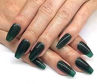 24 PCS 12 Sizes Ballerina Jelly Blackish Green Press On False Nails Glue On Nails with Glue and Adhesive Tab