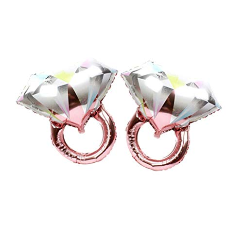 BinaryABC Diamond Ring Foil Balloon,Valentine's Day Wedding Bridal Shower Anniversary Engagement Party Decoration,2Pcs(Rose Gold)