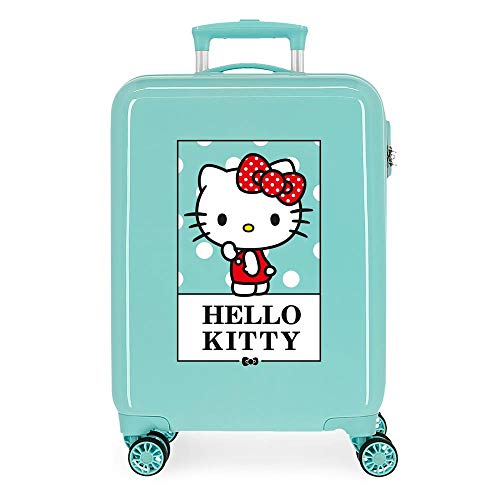 Hello Kitty Bow of Hello Kitty Maleta de Cabina Verde 38x55x20 cms Rígida ABS Cierre de combinación Lateral 34L 2,66 kgs 4 Equipaje de Mano