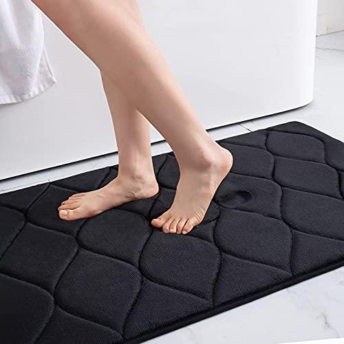 Colorxy Memory Foam Bathroom Rugs, Ultra Soft & Non-Slip Bath Mat, Water Absorbent and Machine Washable Bath Carpet Rug for Shower Bathroom Floor Rugs, 17'x24', Black