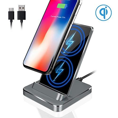 iMoebel Wireless Charger,10W Aluminum Ladegerät für iPhone XS/XS Max/XR/X/ 8/8 Plus, kabelloses Induktive Ladestation Schnellladestation für Samsung Galaxy S9 S9+ S8 S8 Plus S7 S7edge Note 9/8/5 usw