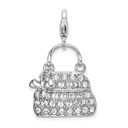 DIAMOND2DEAL da donna in argento Sterling 925smaltato 3-D borsa W moschettone ciondolo