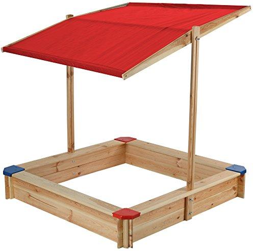 beluga Spielwaren 50354 - Sandkasten mit Dach und bunten Ecken, natur/rot