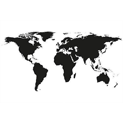 GREAT ART XXL Poster – Weltkarte Schwarz-Weiß – Wandbild Dekoration Landkarte Kontinente Map of The World Globus Erde Welt Erdkunde Wandposter Fotoposter Wanddeko Bild (140 x 100 cm)