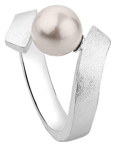 Nenalina Damen Ring Perlenring gebürstet besetzt mit 1 Perle von Swarovski Kristalle 8 mm in weiß, handgearbeitet aus 925 Sterling Silber, 721082-300 Gr.56
