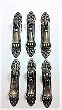 6 Art Nouveau Antique Style Ornate Tear Drop Pendant Brass Handle Pulls Elongated 3